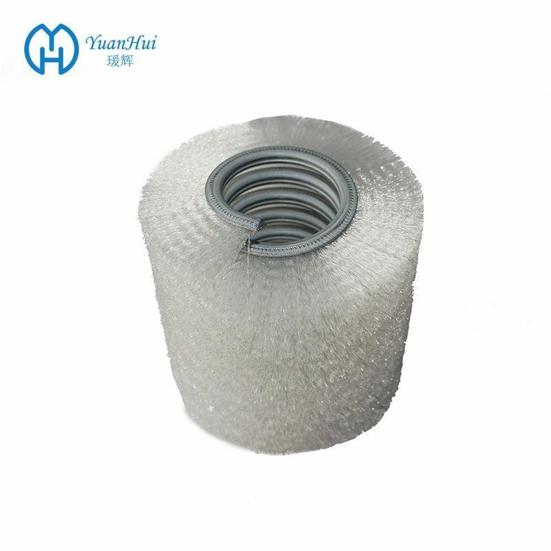 YuanHui Single Metal Band Cylinder Brush - White Crimped Plastic Brush